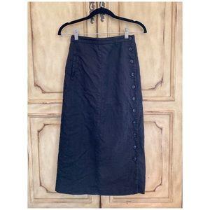 Vintage Finity Linen Button Down Midi Skirt